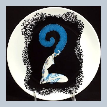Numeral 2 - 9-inch Plate from a Series by Erté, ca 1986