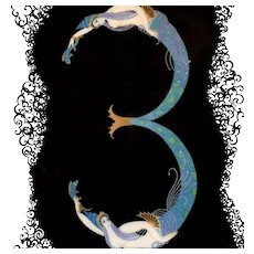 Numeral 3 - 9-inch Plate from a Series by Erté, ca 1986
