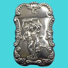 Sterling Silver Match Safe or Vesta with Baroque Style Decoration