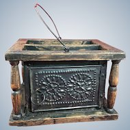 Early Wood and Sheet Metal Foot Warmer Stove