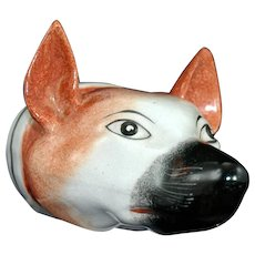English Pottery Stirrup Cup in the Form of a Fox's Head