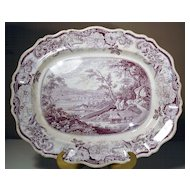 "Large Staffordshire Purple Transfer Platter ""Newburg, Hudson River"""