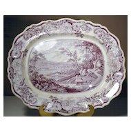 "Large Staffordshire Purple Transfer Platter ""Newburg, Hudson River"""
