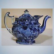 Large 19th Century Dark Blue Staffordshire Teapot
