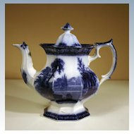 "19th Century British Flow Blue Teapot in the ""Excelsior"" Pattern"