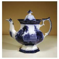 """19th Century British Flow Blue Teapot in the """"Excelsior"""" Pattern"""