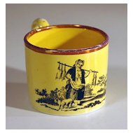 19th Century English Child's Yellow Glazed Earthenware Mug