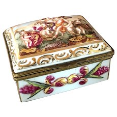 Vintage European Porcelain Trinket Box with Ormolu Fittings