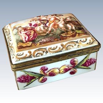 Vintage European Porcelain Trinket Box with Ormolu Fittings