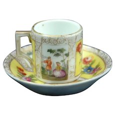 """19th Century Miniature Cup & Saucer with """"Watteau"""" Style Decoration"""
