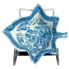 19th Century English Blue Willow Leaf Form Pickle Dish