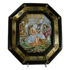 Late 19th Century Italian Porcelain Plaque of Holy Family
