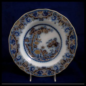 """19th Century Staffordshire Flow Blue Transfer Soup Plate in """"Chusan"""" Pattern"""