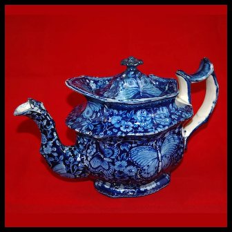 Blue Transfer Staffordshire Teapot in Butterfly & Floral Pattern, 19th Century