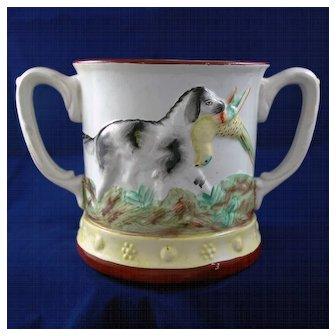 "19th Century English Double Handled ""Frog"" Mug"