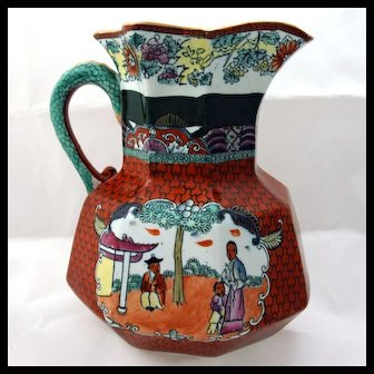 """19th Century Ironstone Octagonal Jug with """"Chinoiserie"""" Type Decoration"""
