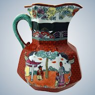 "19th Century Ironstone Octagonal Jug with ""Chinoiserie"" Type Decoration"