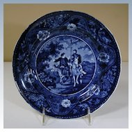 """19th Century Blue Transfer Plate from """"Don Quixote"""" Series"""