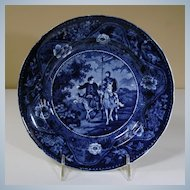 "19th Century Blue Transfer Plate from ""Don Quixote"" Series"