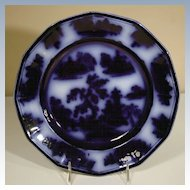 "19th Century Flow Blue Plate in the ""Chapoo"" Pattern"