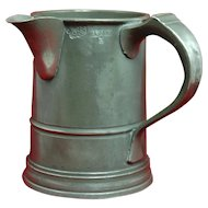 "19th Century English Pewter One-Quart Tankard with Side Spout, ""Ewe & Lamb"""