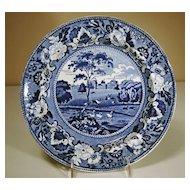 19th Century Staffordshire Plate in Medium Blue Transfer: Blenheim, Oxfordshire