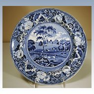 19th Century Staffordshire Plate in Medium Blue Transfer: Blenheim, Oxfordshire
