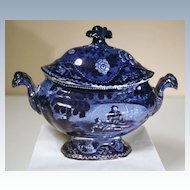 """Staffordshire Blue Covered Sauce Tureen from Clews' """"Don Quixote"""" Series"""