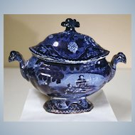 "Staffordshire Blue Covered Sauce Tureen from Clews' ""Don Quixote"" Series"