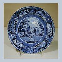 "19th Century Dark Blue Transfer Plate ""Scaleby Castle Cumberland"""