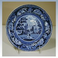 "19th Century Dark Blue Transfer Plate ""Scaleby Castle Cumberland"""