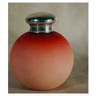 Peach-blow Perfume Bottle with Plated Silver Top ca 1900