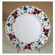 Alcock Creamware Plate with Brushstroke Leaf Decoration