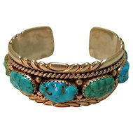 Vintage R and B Leekya Zuni Turquoise Cuff Bracelet Petite