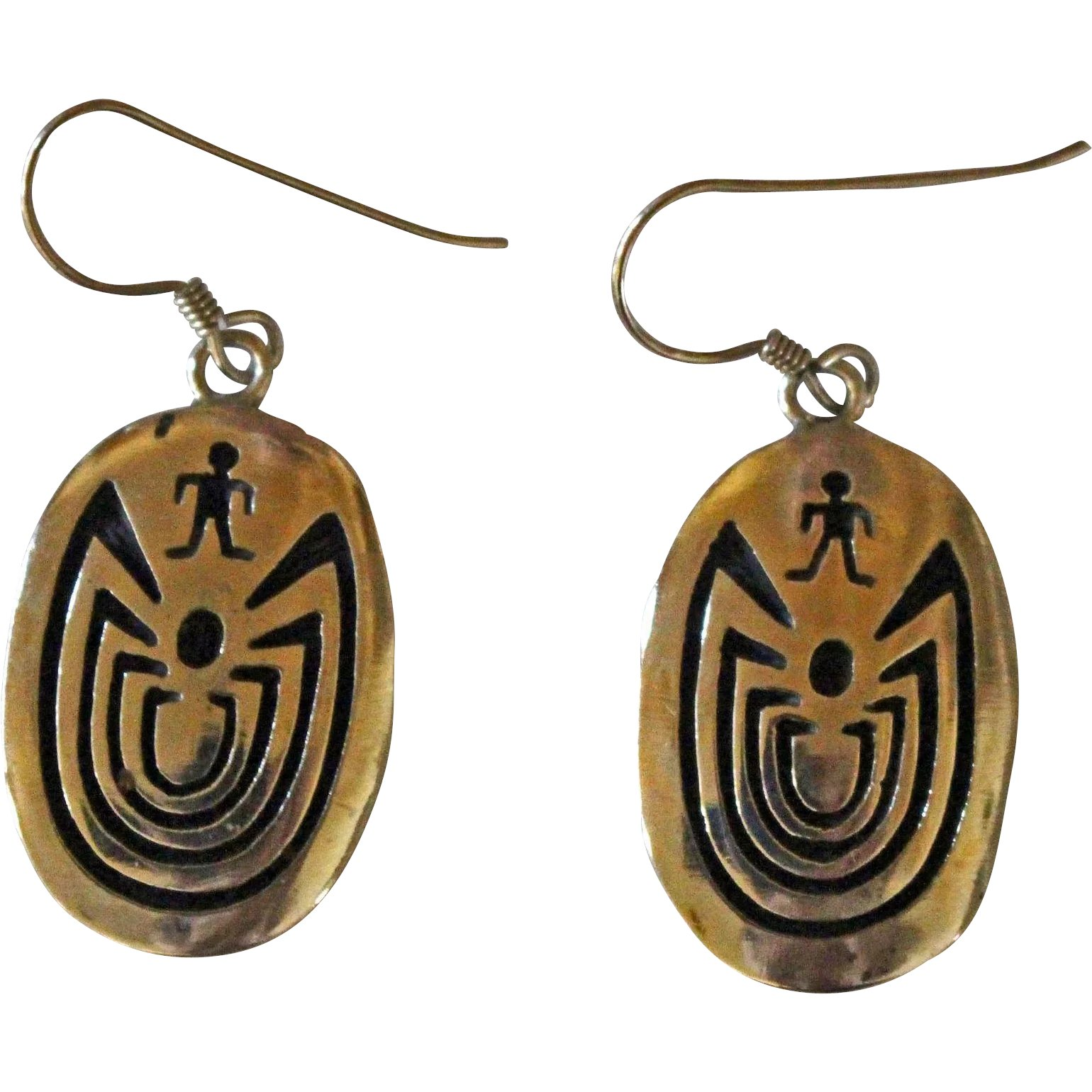 5b62c03bcc23 Vintage Hopi Silver Earrings Man in Maze Signed : Taxco and More Vintage  Jewelry | Ruby Lane