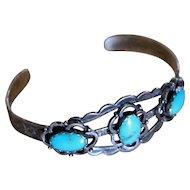 Vintage Silver Turquoise Bracelet Maisel's Tourist Style