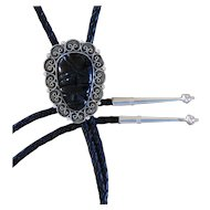 Vintage Mexican Silver Bolo Tie Obsidian Face