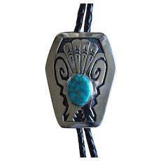 Tommy Singer Bolo Tie Navajo Silver Turquoise