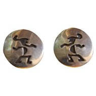 Vintage Navajo Silver Earrings Abstract Figural