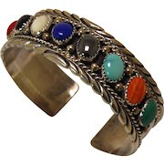 Vintage Navajo Silver Bracelet Richard Rita Begay Multistone