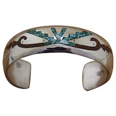 Vintage Navajo Silver Bracelet Delvin J Nelson Inlaid