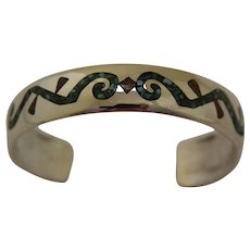 Vintage Navajo Silver Bracelet Inlaid Stone Delvin J Nelson