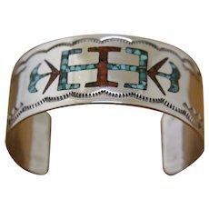 Vintage Navajo Silver Bracelet Inlaid Cecil Henry 1970s