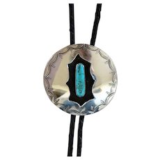 Vintage Navajo Silver Bolo Tie Turquoise Shadowbox