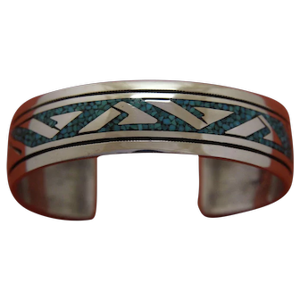 Navajo Tommy Singer Silver Bracelet Inlaid 1970s