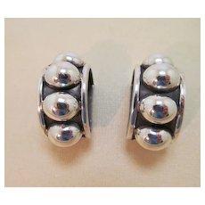 Vintage Brenda Schoenfeld Earrings Taxco Silver Bold