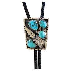 Vintage Zuni Silver Bolo Tie Turquoise A Cheama