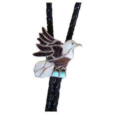 Vintage Zuni Bolo Tie Eva Etsate Eagle Inlaid