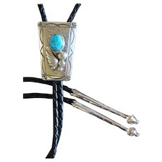Vintage Navajo Silver Bolo Tie Turquoise Richard Henry Yazzie