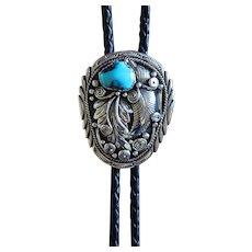 Silver Navajo Bolo Tie Appliqued E Bahe